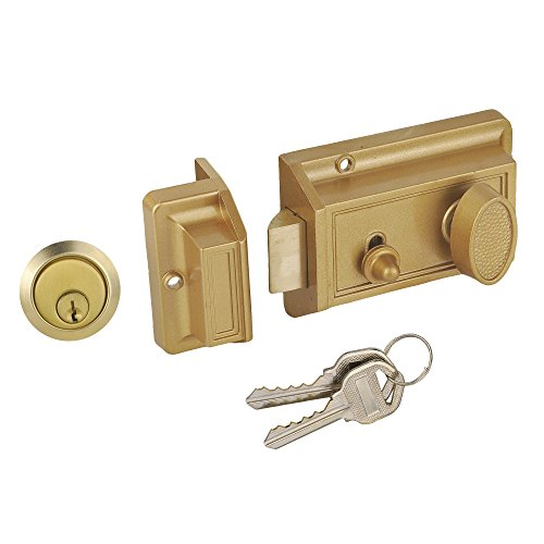 SUMBIN Night Latch Deadbolt Rim Lock,Antique Locks with Keys for Front Door,Gold Finish (Exterior Latch Rim)