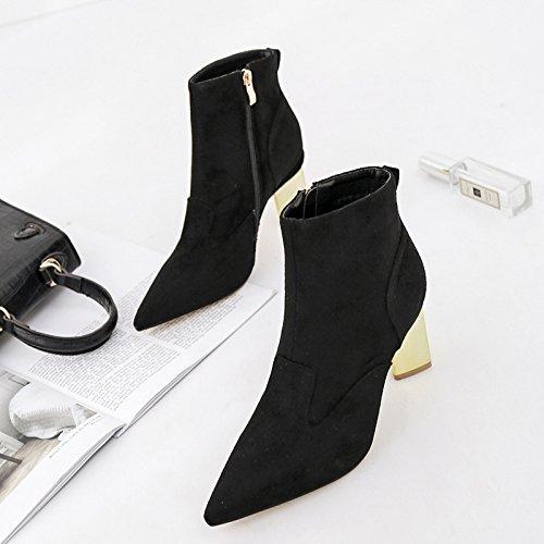 ZHZNVX High-heeled boots women short tip Matte Coated Thick with high-heeled boots women short. Black tX7WPgA1VU