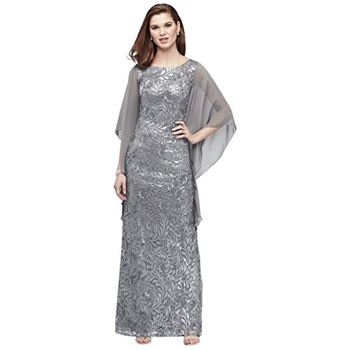 Dress Cape Bride 1306 Sleeves Lace Gunmetal Style Sequin High Groom Mother Neck AvYInqx0