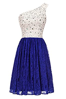 Likedpage Women's Sparkly Beading One Shoulder Lace Homecoming Party Dresses Short