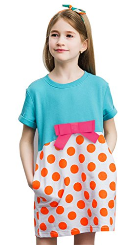 Girls Bowknot Polka Dots Print Patchwork Pure Cotton Loose Dresses Blue 5T