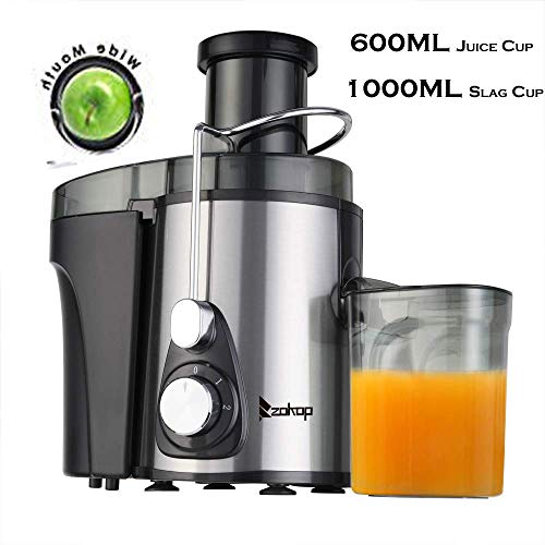 Wesoky Centrifugal Juicer Machine 600ML Juice Cup 1000ML Slag Cup Double Gear Electric Juicer Stainless Steel Black– 3 speed modes and anti-drip function– 600W 75MM Large Caliber Jucier for Fruit and Vegetables