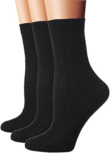 Flora&Fred Womens 3 Pair Pack Cable Knit Wool Crew Socks
