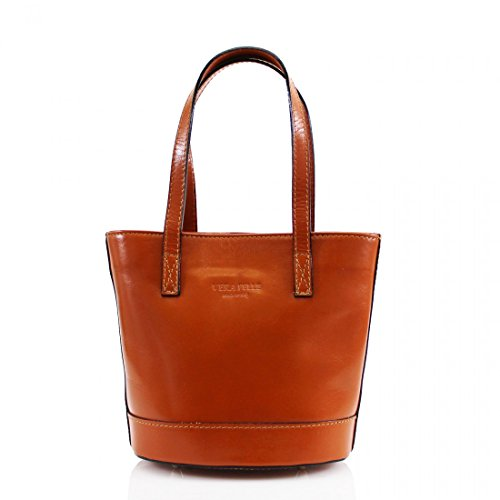Craze London - Crossed Leather Bag Light Brown Woman