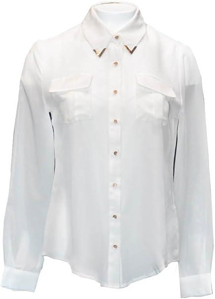 Penélope Camisa, 100% Seda con Bolsillos de Parche, Botones de Oro Satinado en Frente y puños, Detalles en Metal de Oro en el Cuello, Blanco; Talla 40: Amazon.es: Ropa y accesorios
