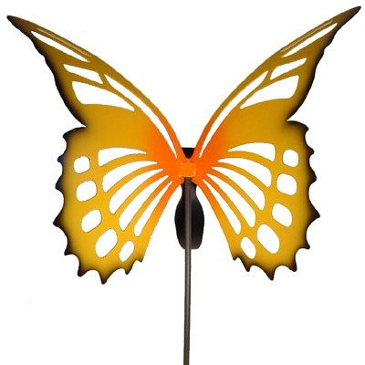 Large Butterfly Sculpture Garden Stake - Yellow Monarch by Modern Artisans