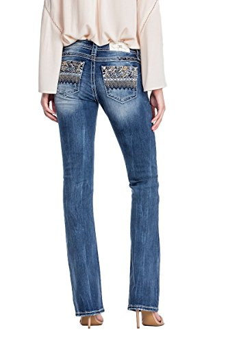 Miss Me Jeans Women's Extended Sizes Fan Favorite Gold Blue Medium Wash Boot Cut - Bootcut Jeans Stitched Gold
