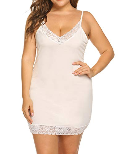 2573f4adeab9d IN VOLAND Women Plus Size Lace Full Slip Dress V-Neck Nightgown Sexy Chemise
