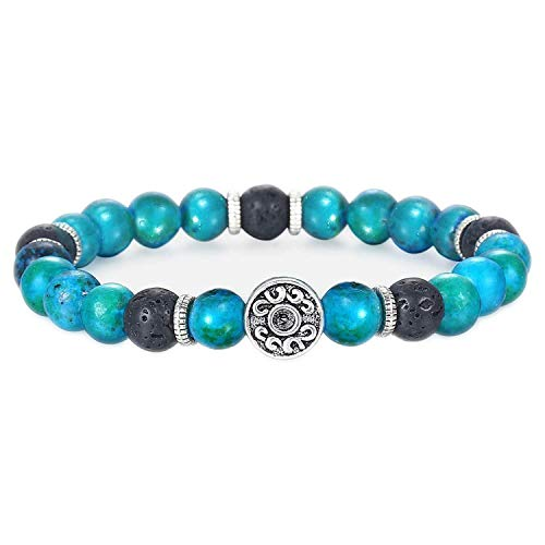 (cengXY160h Unique Natural Tiger Eye Stone Men Beaded Bracelet Stainless Steel Link Chain Bracelets Male Gifts,D15)