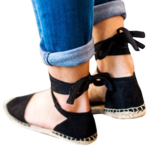 NIGHT-GRING Women's Sandals Ankle Strap with Buckles, Wrap Flat Sandals with Flat Shoes, Flat Summer Shoes Black