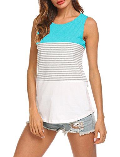 (Hount Woman's Round Neck T Shirt Striped Summer Sleeveless Tank Tops (Green, S))