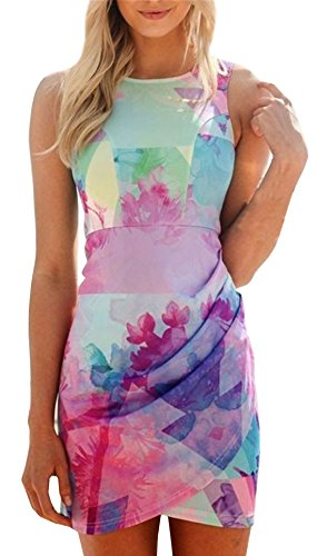 Kissky Women's Sleeveless Floral Print Wrap Dress (L, Multicolor)