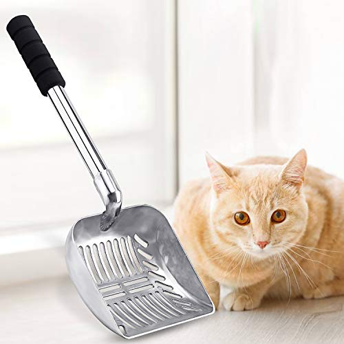 LYCC Cat Litter Scoop with Longer Handle and Soft Grip,Metal Pet Sifter Kitty Cat Scooper Non-Stick Coated with 1 Pcs Hook