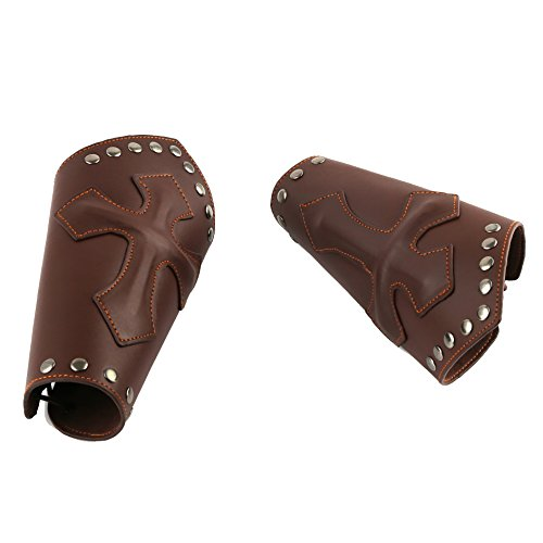 [HZMAN Faux Leather Arm Guards - Medieval Cross Bracers - Brown - One Size] (Medieval Mens Costumes)