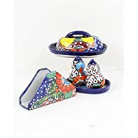 Mexican Salt and Pepper Shakers, Talavera Butter Dish, Talavera Napkin Holder, Mexican Butter Dish - Accessory Set 3 pieces