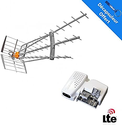 Televes Pack antena DAT HD BOSS 790 LR 4 G LTE 19dB especial réceptions difficile TDT UHF + Alim S