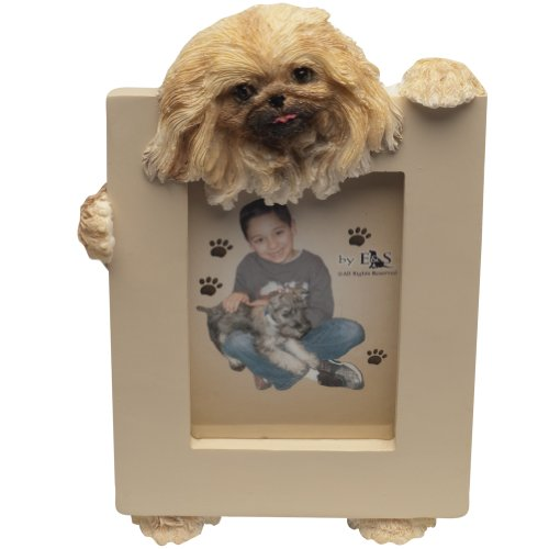 Pekingese Picture Frame Holds Your Favorite 2.5 by 3.5 Inch Photo, Hand Painted Realistic Looking Pekingese Stands 6 Inches Tall Holding Beautifully Crafted Frame, Unique and Special Pekingese Gifts for Pekingese Owners