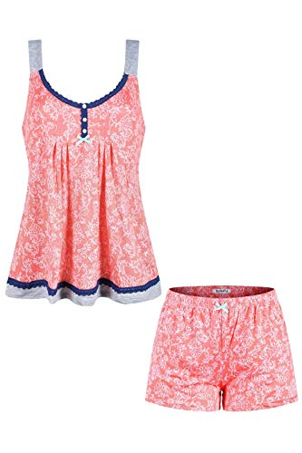 SofiePJ Women's Printed Rayon Pajama Set Chemise Top with Shorts Coral White L
