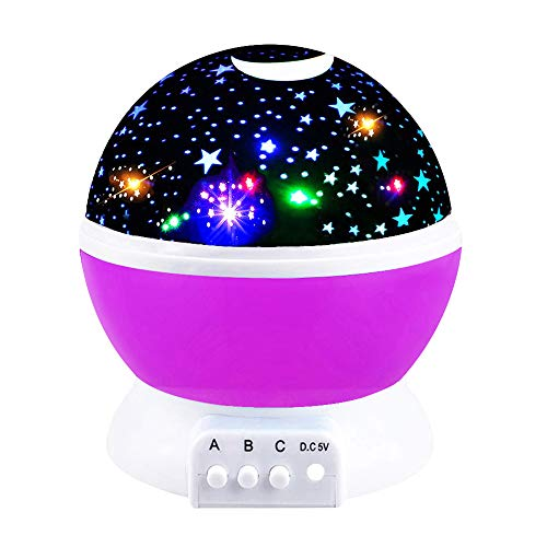 Cooco Star Lights for Bedrooms Kids, Birthday Presents for 2-10 Year Old Girls Halloween Romantic Starlight for Kids Gifts Age 2-10 Christmas Xmas Presents Gifts Stocking Stuffers Purple