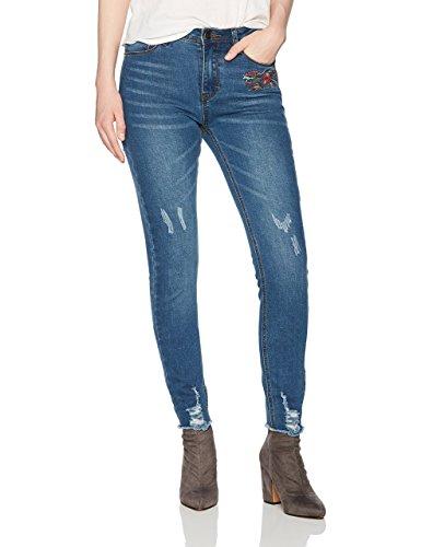 Lily Parker Women's Flower Embroidery Stretch Skinny Jeans With Frayed Hem 29 Dark Blue
