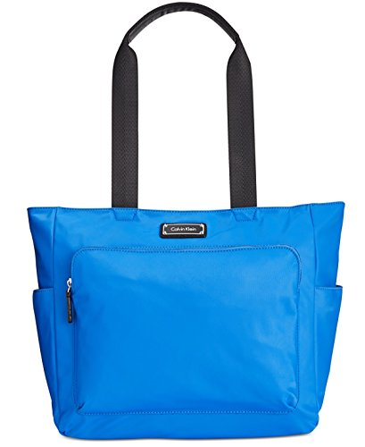 Calvin Klein Womens Contrast Trim Shopper Tote Handbag Blue Large