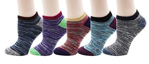 Bienvenu Women's Ankle Socks Low Cut Vintage No Show Casual Cotton Liner Socks 5 Pairs,low cut vintage ()