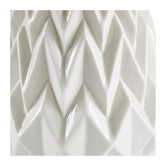 "Rivet Modern Geometric Pattern Decorative Stoneware Vase, Large Centerpiece, 12.25""H, White - Textured geometric patterns give this vase a modern, angular flair. The lovely milky white color with transparent glaze will go with any décor. Add flowers if you wish, but this vase can also stand alone as a decorative piece Neutral white with modern patterns allow it to blend with any room 100% stoneware with transparent glaze - vases, kitchen-dining-room-decor, kitchen-dining-room - 41UF1ILlhAL. SS570  -"