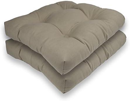 Reversible Outdoor/Indoor Sunbrella Seat Cushion Set of 2 Sand