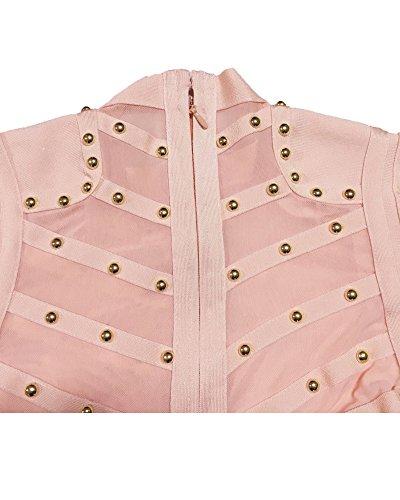 Whoinshop Longue Robe Bandage Partie Clouté Manches De Rose Des Femmes