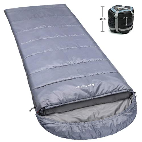 NORSENS 0 Degree Cold Weather Sleeping Bag, Compact Waterproof Adults Sleeping Bags for Backpacking/Camping/Hiking, Gray, XL