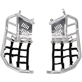 Tusk Foot Peg Nerf Bars With Heel Guards Silver With Black Webbing -Fits: Honda TRX 400EX 1999-2007