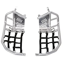 Tusk Foot Peg Nerf Bars With Heel Guards Silver With Black Webbing -Fits: Suzuki LT-R 450 QUADRACER 2006-2009