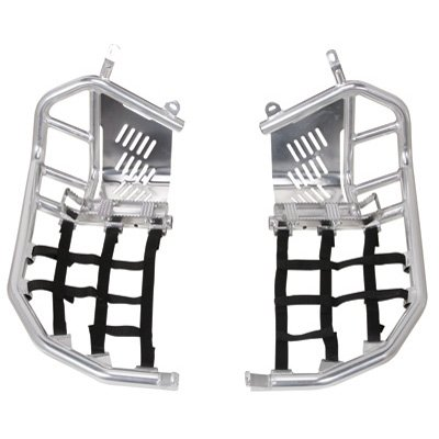 Tusk Foot Peg Nerf Bars With Heel Guards Silver With Black Webbing - Fits: Honda TRX 400EX 1999-2007 (Honda Nerf Bars)