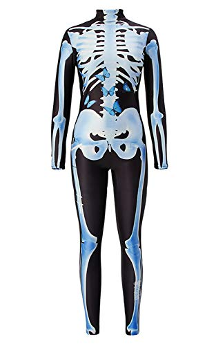 TUONROAD Womens Graphic Printed Skeleton Outfit Costume Creative Baby Blue Bones with Butterfly Skin Tight Halloween Bodysuit Glow in The Dark Jumpsuit Leotard for Young Adult Female for $<!--$23.99-->