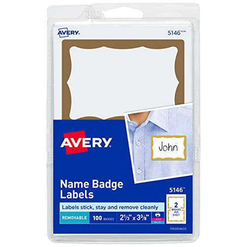 Avery Personalized Name Tags, Print or Write, Gold Border, 2-11/32