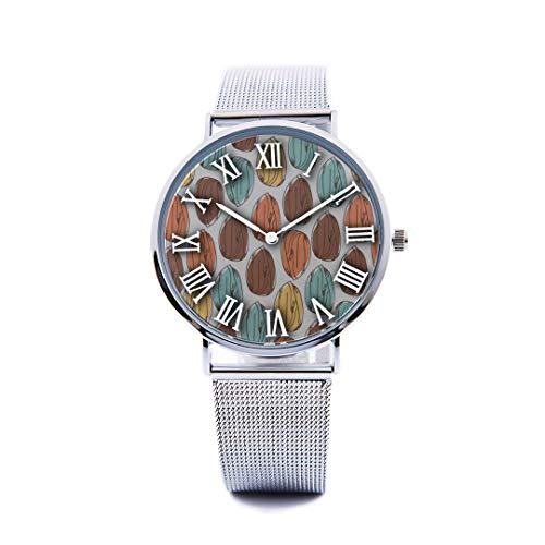 Unisex Fashion Watch Almond Dried Fruit Casual Snack Ideas Print Dial Quartz Stainless Steel Wrist Watch with Steel Strap Watchband for Men Women 40mm Casual Watch