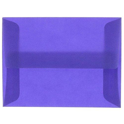 (JAM PAPER A6 Translucent Vellum Envelopes - 4 3/4 x 6 1/2 - Wisteria Purple - 25/Pack)