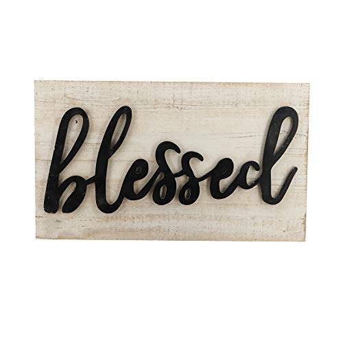 (Paris Loft White Blessed Script Wood Sign Plaque with 3D Black Letters Rustic Handmade Farmhouse Blessed Wood Plank Wall Hanging Signs)