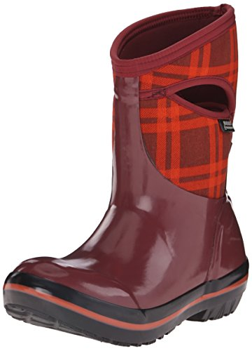 Bogs Women's Plimsoll Plaid Mid Winter Snow Boot Ox Blood