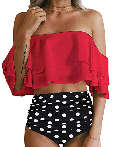 (SouqFone Off The Shoulder Swimsuit Ruched Flounce Trim Two Piece Crop Bikini Top with High Cut Print Bottom - S, Red)