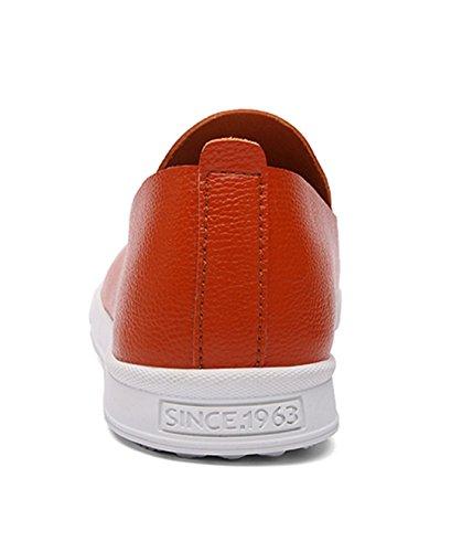 TDA Mens Casual Comfort Slip On Leather Loafers Driving Dress Business Boat Shoes Orange Olh81lbOd