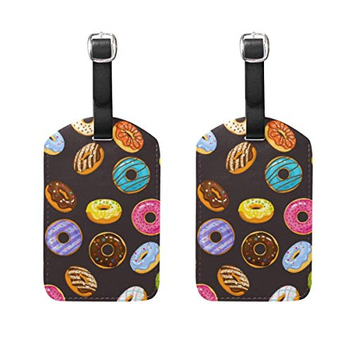 Ptrfedss Donuts Chocolate Pattern Luggage Tags Men Women Cruise Ships Personalized Labels Privacy Cover for Travel Bag Suitcase Leather Set of 2 with - Laminated Buckle Chocolate