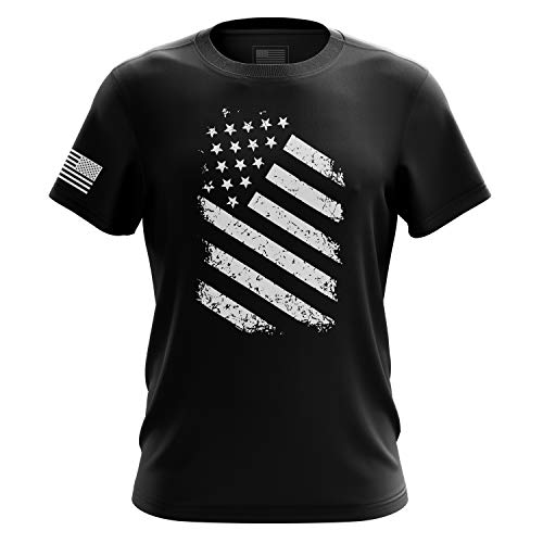 Tactical Pro Supply American Flag Military Army Mens T Shirt (Old Glory Black, Large)