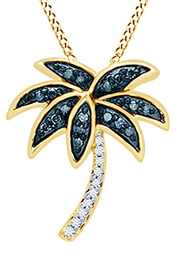 & Blue Natural Diamond Palm Tree Pendant Necklace in 14K Yellow Gold Over Sterling Silver (0.13 Ct) ()