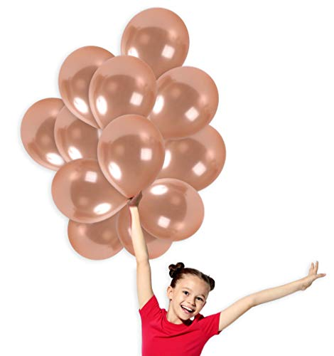 - Rose Gold Metallic Balloons 12 Inch Thick Latex Balloon Bulk Pack of 100 and 65 Yards Curling Ribbons Party Supplies for Wedding Bridal Baby Shower Birthday Decorations