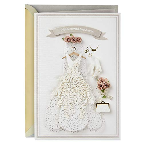 Hallmark Signature Wedding, Bridal Shower, or Engagement Card (Here Comes the Bride) -