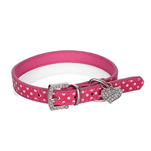 - ECYC Bling Rhinestone Pet Dog Collars Polka Dots Leather Collars Neck Buckle Strap