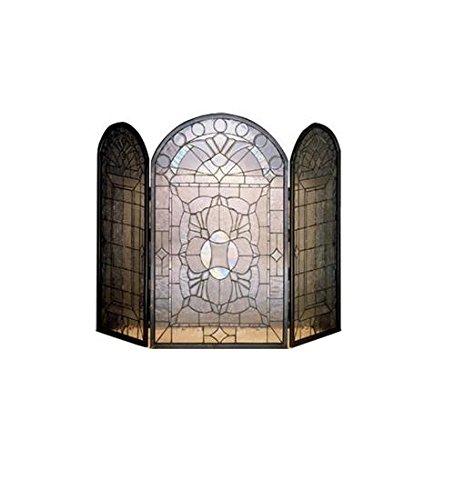 Beveled Glass Folding Fireplace Screen, 40