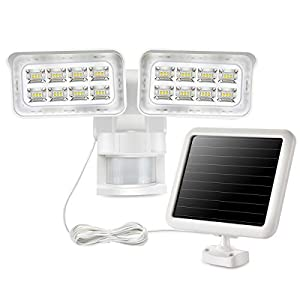 1500LM Solar LED Motion Sensor Security Light with 2 Adjustable Light Heads, 5000K, Waterproof, Perfect for Outdoor Use…