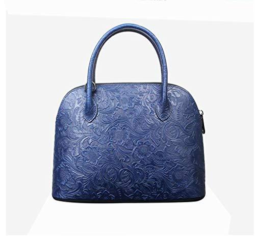 Cuir Sauvage Blue Tridimensionnel La Bandoulière Vintage Relief Sac fonction Multi Capacité Vie Grande Dames Main Messenger Shell En À Fait Bag S4zaqwI
